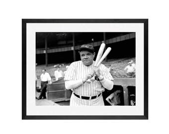 Babe Ruth - Wall art, Framed wall art, Art print-Baseball Gift - Yankees , New York Yankees Art, Baseball, MLB, Yankees,derek Jeter