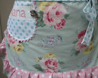 Womens Pink Rose Aprons - Monogrammed Aprons - Shabby Chic Aprons - Pink Handmade Aprons - Blue Cottage Chic Aprons - Annies Attic Aprons