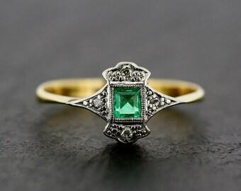 Art Deco Emerald Ring - Antique Art Deco Emerald & Diamond 18ct Gold and Platinum Ring