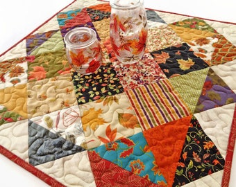 "Autumn Fall Quilted Table Topper 21.75"" x 22.25"" - Scrappy Table Quilt - Square Table Topper"