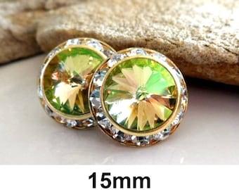 Luminous Green, Green & Gold Studs, Swarovski, Rivoli Earrings, Color Changing Studs, Large Crystal Studs, Stud Earrings, Surrounds, 15mm