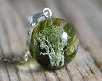 Woodland Necklace, Sterling Silver, Lichen and Moss Necklace, Forest Jewelry, Terrarium Jewelry, Terrarium Necklace, Bold Jewelry