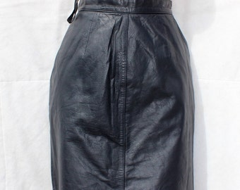 Vintage Blue 100% Real Leather YOURN BOUTIQUE High Waist Knee Length Pencil Ladies Women's Skirt Size  UK4 - UK6