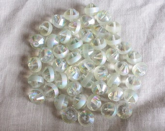5 glass Bicone beads faceted and Electroplates transparent yellow LBP00188B