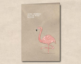 Wishes to true be - double card with Flamingo