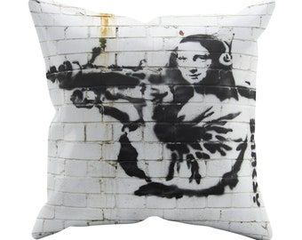 Mona Lisa Bazooka Cushion Cover