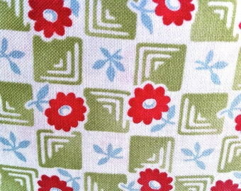 Floral Checkerboard Fabric - Bliss Check Lime by Bonnie & Camille  for Moda 55024 14 - 1/2 yard