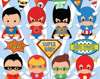 Brown skin Superhero baby clipart, Super baby, Baby boys clipart