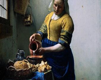 Johannes Vermeer: The Milkmaid. Fine Art Print/Poster. (001841)