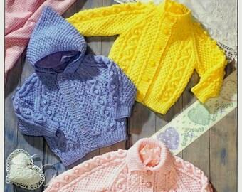 Baby/Toddler  ARAN 10ply Jacket & hooded jacket 18-24ins- Spectrum 7140 - pdf of Vintage Knitting Patterns
