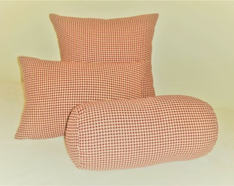 French Burgundy Check Pillow Cover Tan Homespun Fabric French Country Farmhouse Shabby Chic Cottage