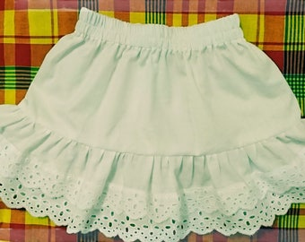 Skirt or petticoat girl cotton and lace