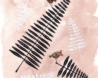 Ferns and Tiny Birds - Art Print
