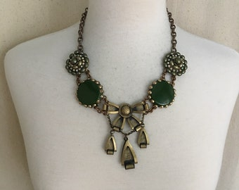 Bohemian Necklace, Bow necklace, statement jewelry, green necklace, Boho necklace, shabby chic jewelry, upcycled vintage jewelry,