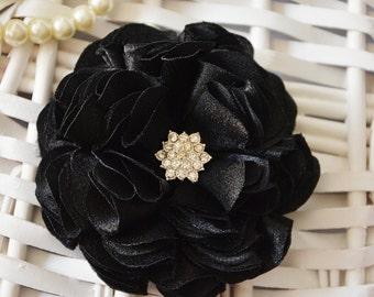 Black Flower, Wedding Hair Piece, Hair Flower, Hair Clip, Bridal, Bridesmaid, Hair Accessories, Hair Flower, Brooch, Flower Girl, Hair Piece