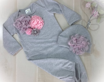 Newborn Girl Take Home Outfit, Pink Gray Layette Gown Cap with Satin Flowers, Newborn Gown