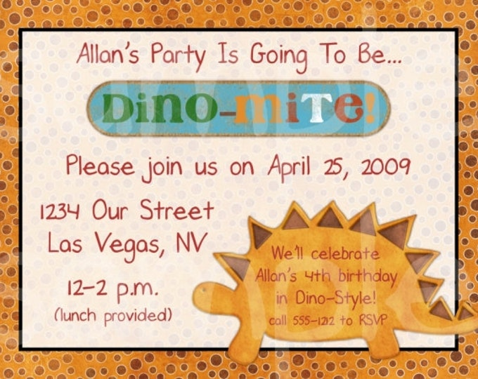 Dinosaur Birthday Invite, Dino Invitation, Dino Birthday Invite, Digital Design - CUSTOM for You - 4x6 or 5x7 size - YOU print