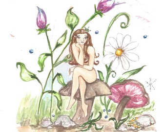 A fairy - A5 print - watercolor art - fine art print