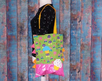 Bag shopper with cupcake pink green