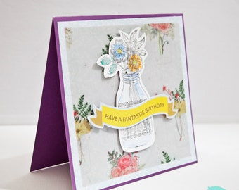 Have a fantastic birthday square birthday card with watercolored jar of flowers