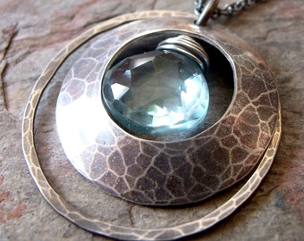 Aquamarine Sterling Silver Hammered Circle Pendant Necklace - March Birthstone - March Birthstone Jewelry - Aquamarine Necklace