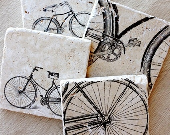 Bike, Coasters- Bike Gift, Bicycle, Bike, Bicycle Decor, Bicycle Gifts, Cycling Decor, Cyclist Gift, Bike Decor, Vintage Bike, Bike Tile