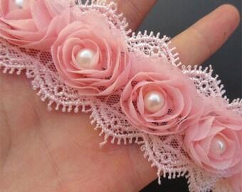 1 3/4  inch wide rose pink or white rose trim select 0.5 yard or 1 yard