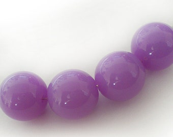 18mm Lilac acrylic round beads - 6pcs
