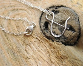 sterling silver ampersand necklace