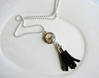 Brown Leather Tassel and Focal Bead Necklace, Long Boho Necklace, Silver Necklace, Tassle Necklace, Boho Jewelry