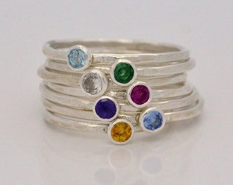 Birthstone Ring in Sterling Silver Personalized Mothers Ring or Stacking Great Gifts for Mom