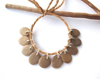 Rock Beads Small Mediterranean Natural Stone River Stone Jewelry Supplies Pairs BEIGE CHARMS 12-14 mm
