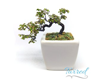 Miniature Wire Bonsai Sculpture with Enameled Leaves, Cascading