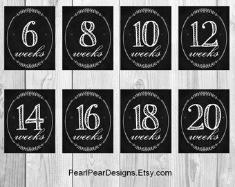 Weekly Pregnancy Chalkboard  Countdown Weeks (even weeks 6-40) 18 digital files - pregnancy week by week 16x20