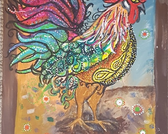 Paisley Rooster, Acrylic on Canvas Panel
