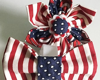 July 4th Patriotic Dog Bow Tie or Flower for Female and Male Dogs or Cats