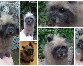 Needle Felted Miniature Dog OOAK Brown Cairn Terrier Custom Pet Portrait Special Order