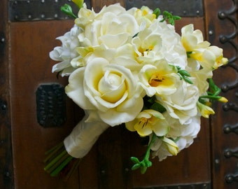 Cream Ivory and Yellow Artificial Gardenia, Rose, and Freesia Bouquet (Ivory Bouquet, Yellow Bouquet, Garden Wedding)