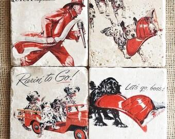 Fireman- Coasters, Fireman Decor, Firefighter Gift, Firefighter Decor, Dalmation, Fireman Gift, Fire House, Firefighter Coaster