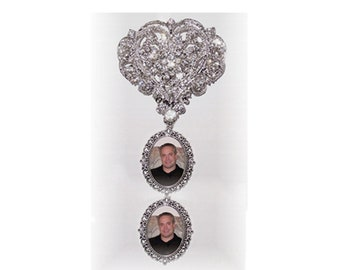 Memorial Brooch 2-Photo Charm Cinderella Heart Silver Clear Crystals Gems - FREE SHIPPING