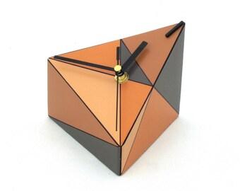 Desk Clock, Wood clock, Geometric Table clock, Triangle, Brown, Grey, Tan, Orange clock, Unique gift, Spring home decor, Mothers day
