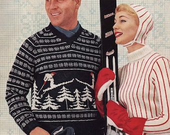 PATTERN Vintage MENS Ski Sweater  PATTERN 1950s skier evergreens norwegian colorwork