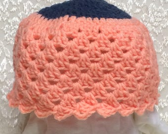 Blue and Peach Hat