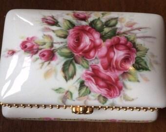 Liette Porcelain Trinket Box Floral Design Vintage Box