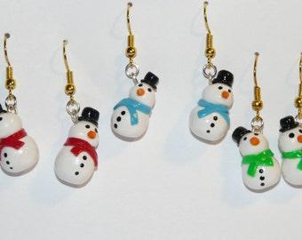 Snowman Dangle Earrings / Polymer Clay / Christmas Earrings