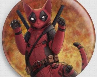 Cat Needle Minder,  Jenny Parks,  Deadpurr, Cross Stitch Keeper, Fridge Magnet, Deadpool Cat