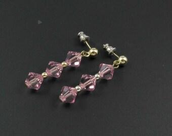 Vintage Swarovski Pink Crystal Earrings, New Old Stock Swarovski Earrings, Pink Earrings, Swarovski Crystal Earrings