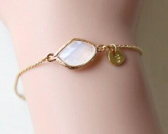 bridesmaid bracelet, October birthstone bracelet, Personalized initial bangle bracelet, birthstone jewelry, birthday gifts, wedding jewelry