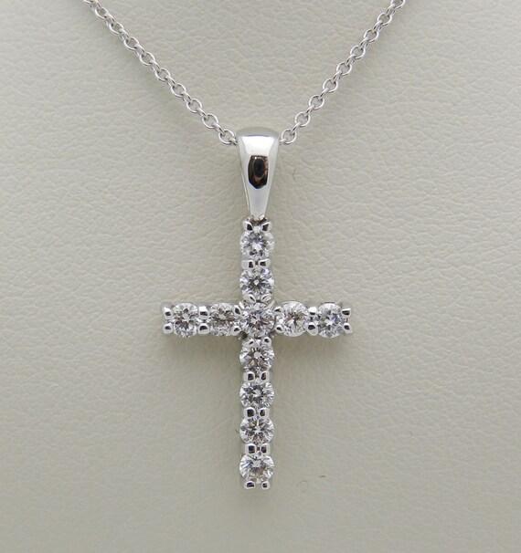 "14K White Gold 1.17 ct Diamond CROSS Pendant Necklace Religious Charm 18"" Chain"