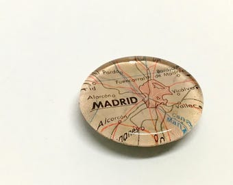 NEW Vintage Map Magnet - Ready to ship - Madrid Spain - souvenir - vacation - holiday - guy gift